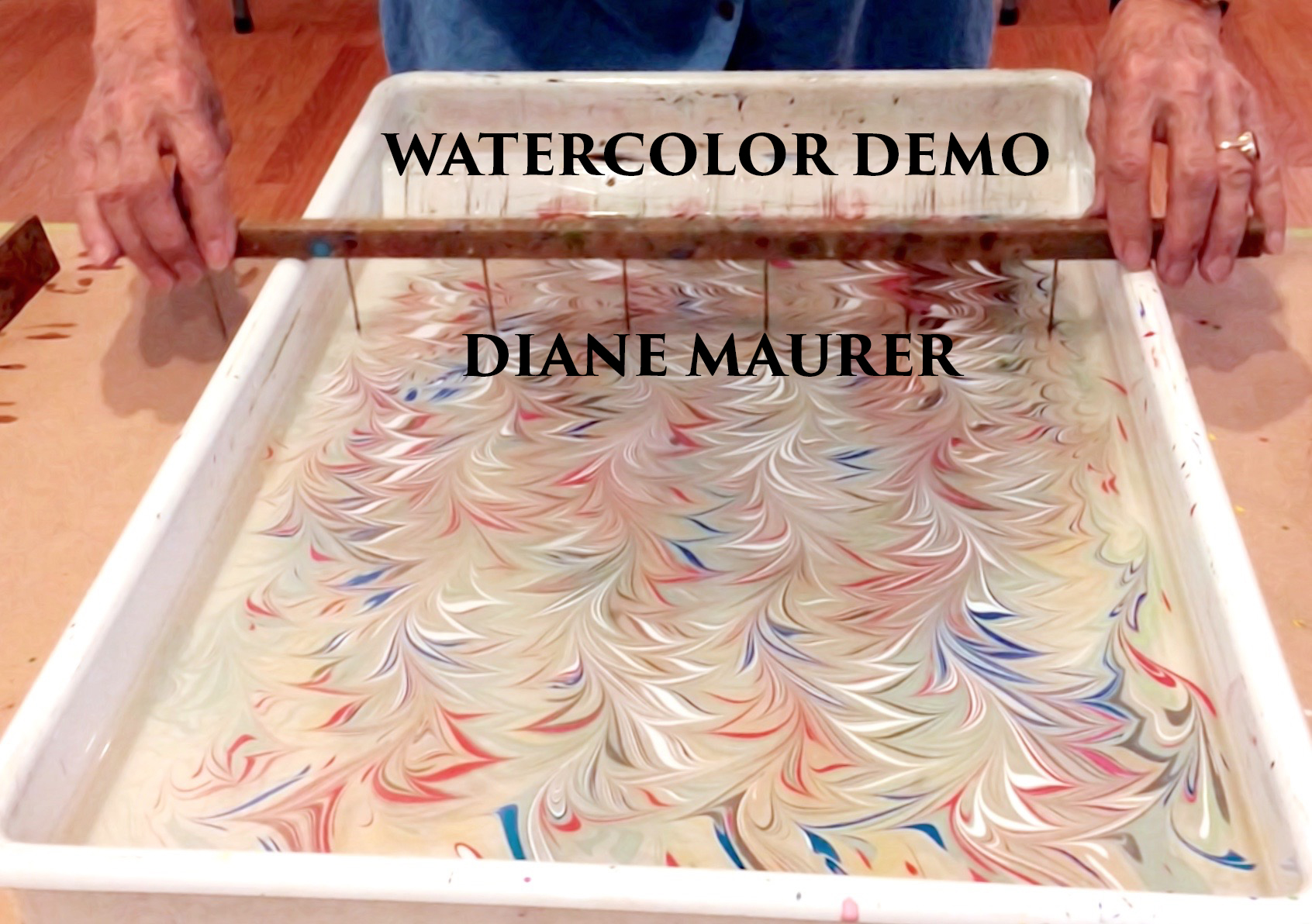 Watercolor Marbling Demo / Diane Maurer